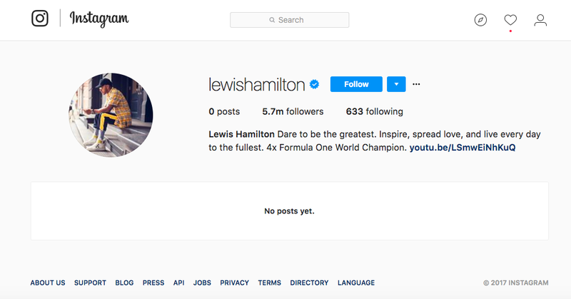 Illustration for article titled Lewis Hamilton Is Wiping His Instagram And Twitter Like We All Should Frankly