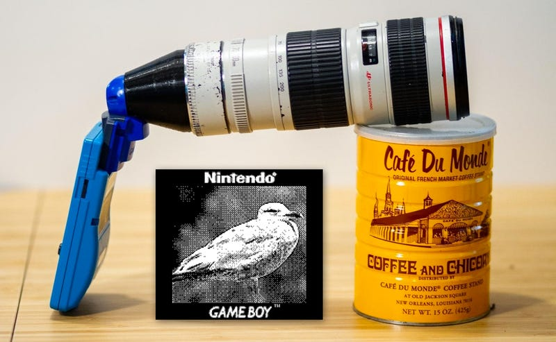Illustration for article titled Genius Photography Hacker Makes Adapter to Attach Giant Zoom Lenses to the Game Boy Camera