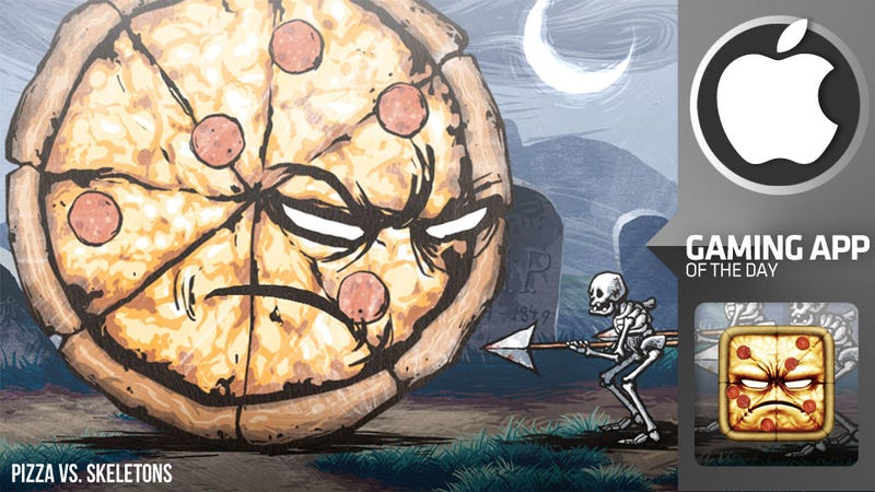 Illustration for article titled Take Out Skeletons with Take-Out Pizza in this Ridiculous iPhone Platformer
