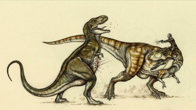 Illustration for article titled The most insane dinosaur fights you've ever seen