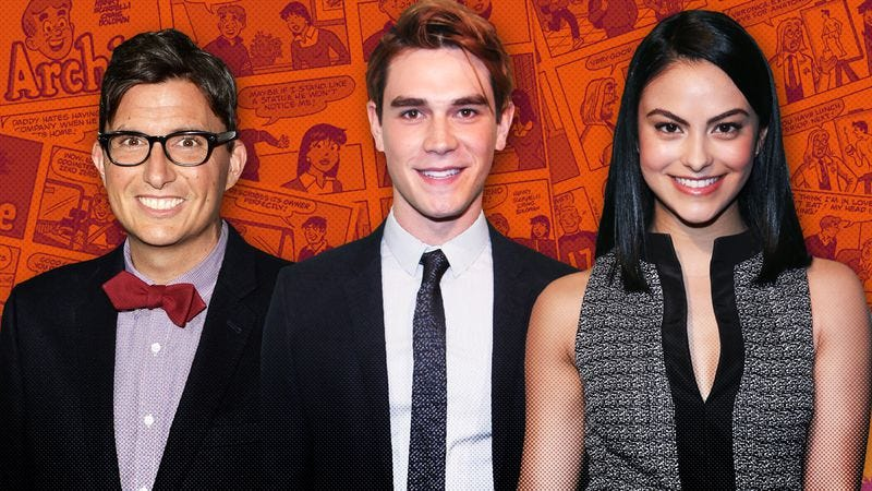 From left to right: Roberto Aguirre-Sacasa, KJ Apa, Camila Mendes (Graphic: Nick Wanserski)