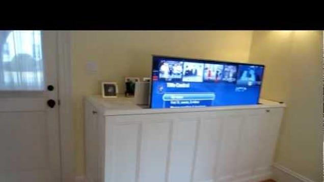 make a diy home theater tv lift cabinet. Black Bedroom Furniture Sets. Home Design Ideas