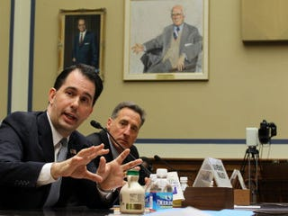 Wisconsin Gov. Scott Walker testifies at a hearing. (Getty Images)