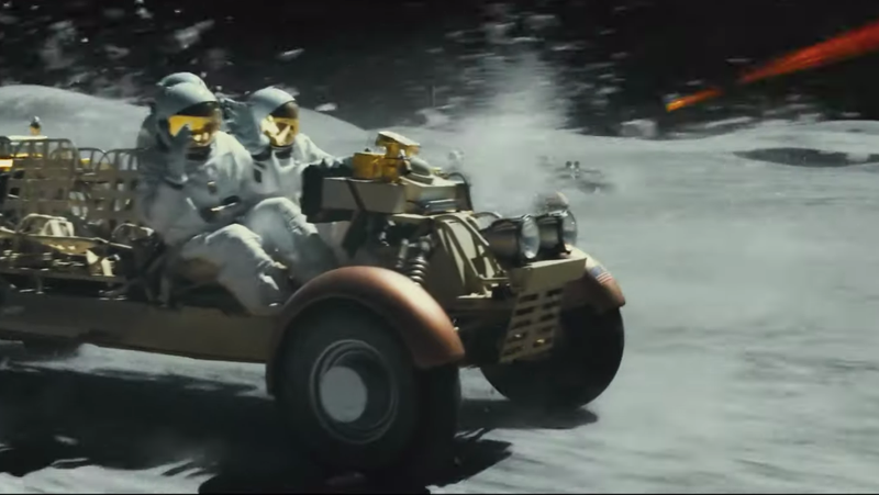 Illustration for article titled Ad Astra's Lunar Rover Car Chase Looks Like Mad Max In Space