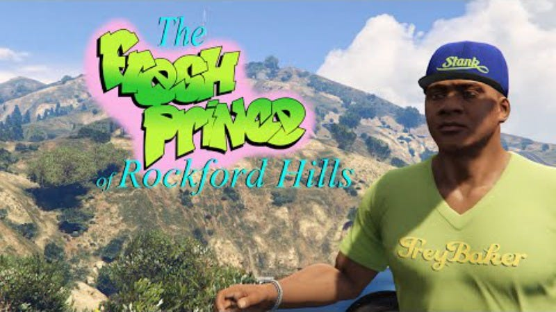 Illustration for article titled Grand Theft Auto's Franklin Clinton as the gun-toting Fresh Prince of Rockford Hills