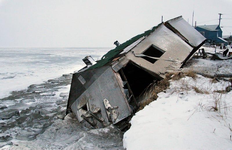 A house on Shishmaref Island after a coastal storm. Photo: AP