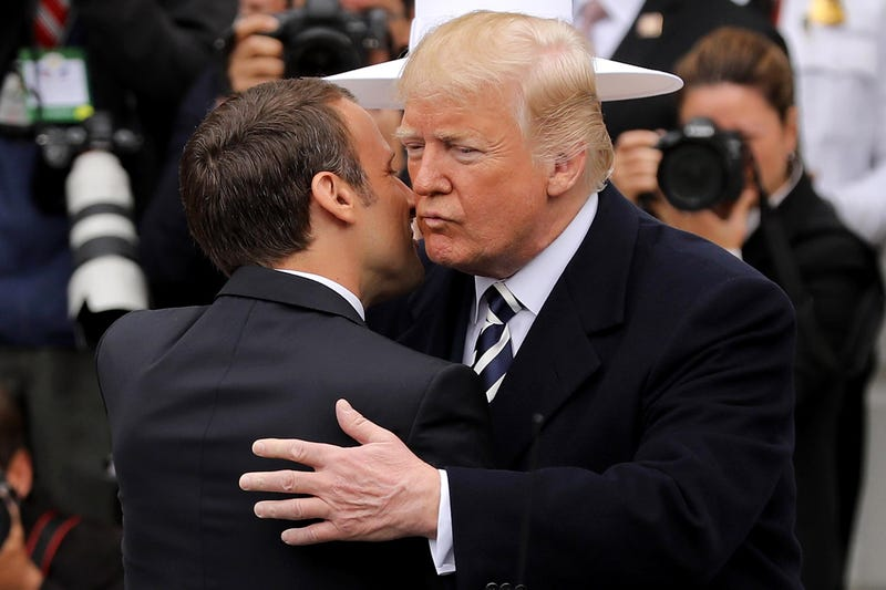 President Donald Trump welcomes French President Emmanuel Macron to the White House during a state arrival ceremony on April 24, 2018, in Washington, D.C.
