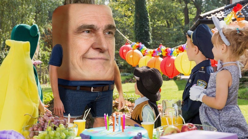 A square man who claims he lives in the ocean at a birthday party.