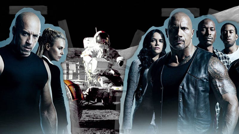 Cast of The Fate of the Furious. Photo: Universal Pictures. Buzz Aldrin on the Moon. Photo: Nasa