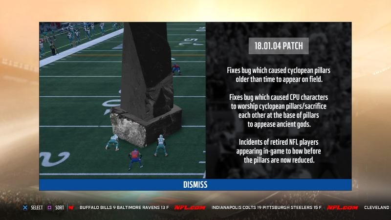 The obsidian pillar on Madden 18 that players keep worshipping.