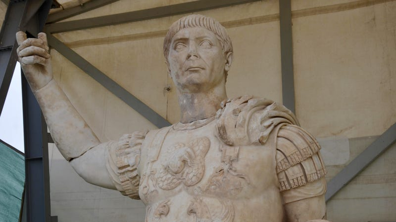 The statue of emperor Trajan, who ruled Rome from from 98 to 117 AD.