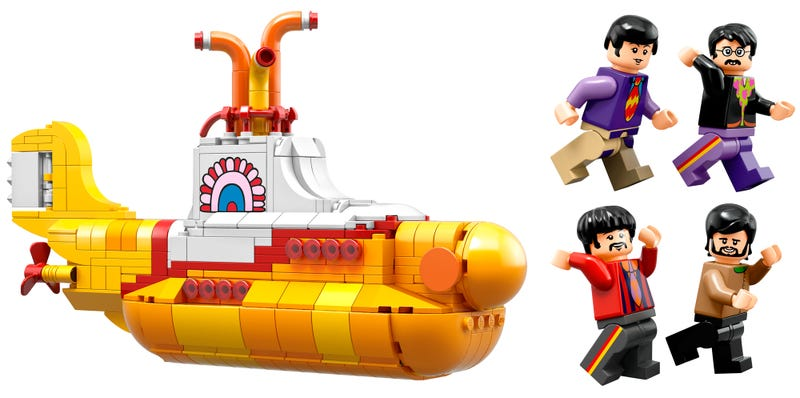 Illustration for article titled Lego's New Yellow Submarine Comes With Four Perfect Beatles Minifigs