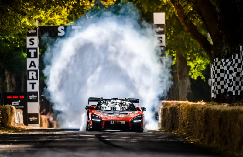 Illustration for article titled Bruno Senna Rips An Awesome Burnout In A Senna At Goodwood