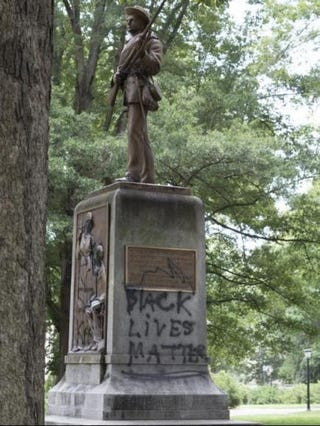 The Silent Sam statue on the campus of the University of North Carolina at Chapel HillTwitter