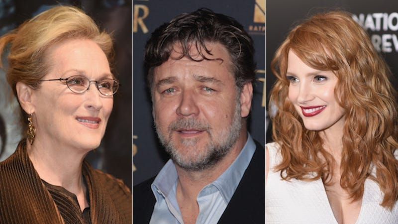 Illustration for article titled IsRussell Crowe a Dick? Meryl Streep and Jessica Chastain Weigh In