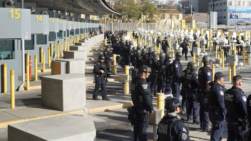CBP officers from the Office of Field Operations and agents from the U.S. Border Patrol and Air and Marine Operations run exercises at the U.S-Mexico border at the San Ysidro Port of Entry on November 22, 2018