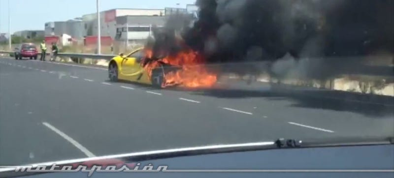 Illustration for article titled Need For Speed Car Catches On Fire In Spain