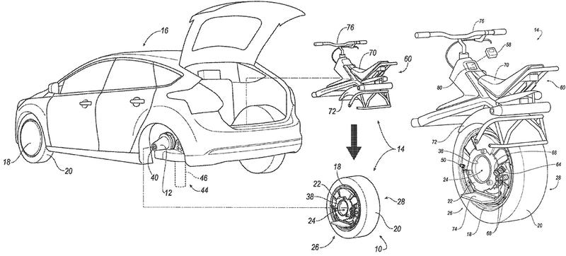 Illustration for article titled Ford Wants to Turn Your Car's Back Wheel Into a Batpod