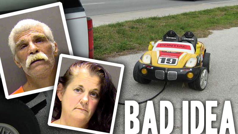 Illustration for article titled Drunken Grandparents Towed Their Grandkid In This Power Wheels Car