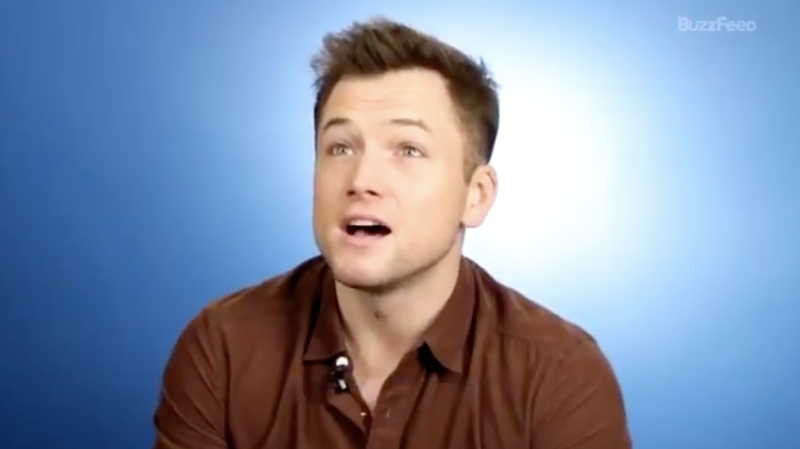 """Illustration for article titled Just Taron Egerton learning what a """"bussy"""" is"""