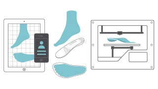 Illustration for article titled 3D Printed Custom Insoles Made From a Ten Second Video Of Your Foot