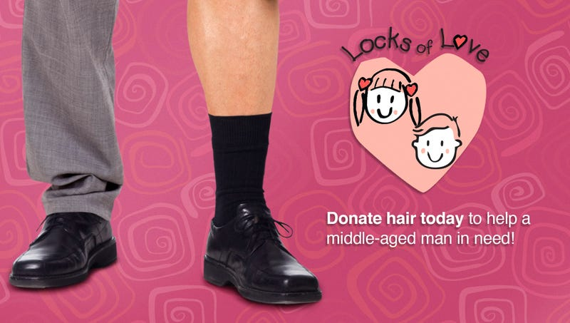 Illustration for article titled Heartwarming! Locks Of Love Will Now Donate Hair To Middle-Aged Men Who Have Lost All The Hair On Their Legs From Wearing Dress Socks