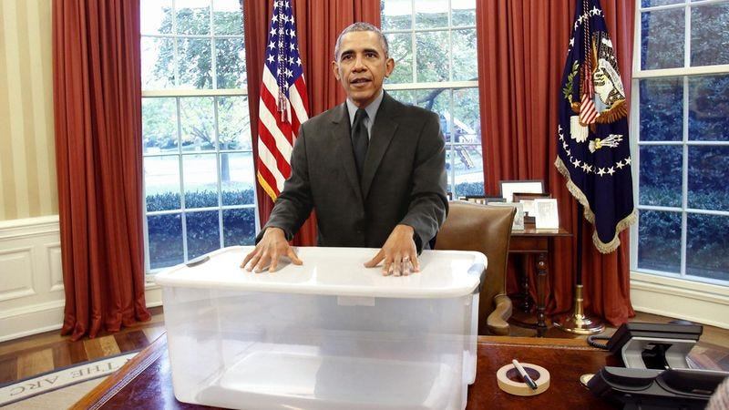 Illustration for article titled Obama Announces Plan To Store Nation's Extra Stuff In Large Plastic Crate