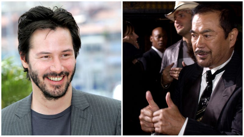 Keanu Reeves (Photo: Tony Barson/WireImage/Getty Images) and Sonny Chiba (Photo: Lester Cohen/WireImage/Getty Images).