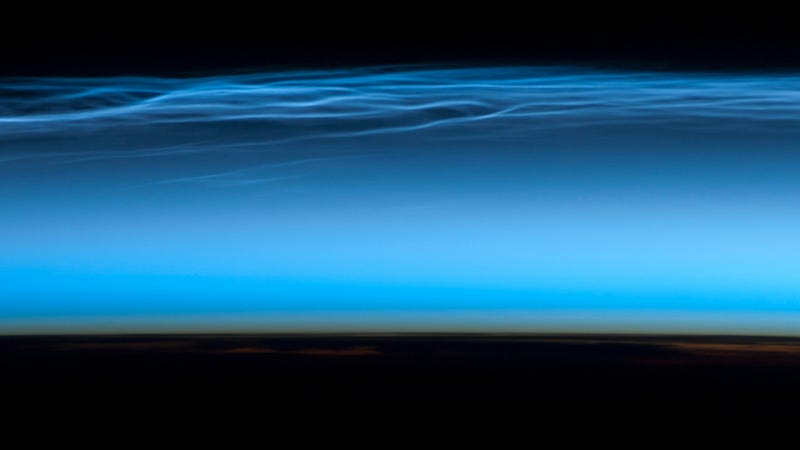 Noctilucent clouds as seen from the ISS. (Image: NASA)