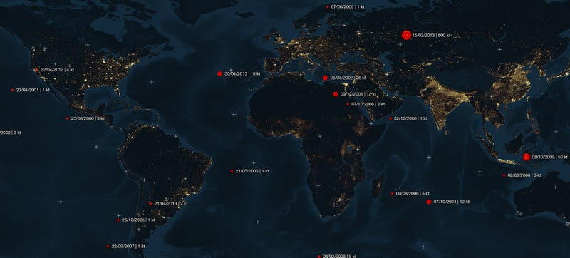 Illustration for article titled Map reveals all asteroid impacts from 2000 to 2013