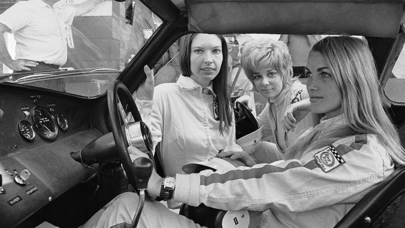 Janet Guthrie, Donna Mae Mims and Liane Engeman racing with the boys at the 12 Hours of Sebring in 1969. Photo credit: AP Photo/Jim Kerlin