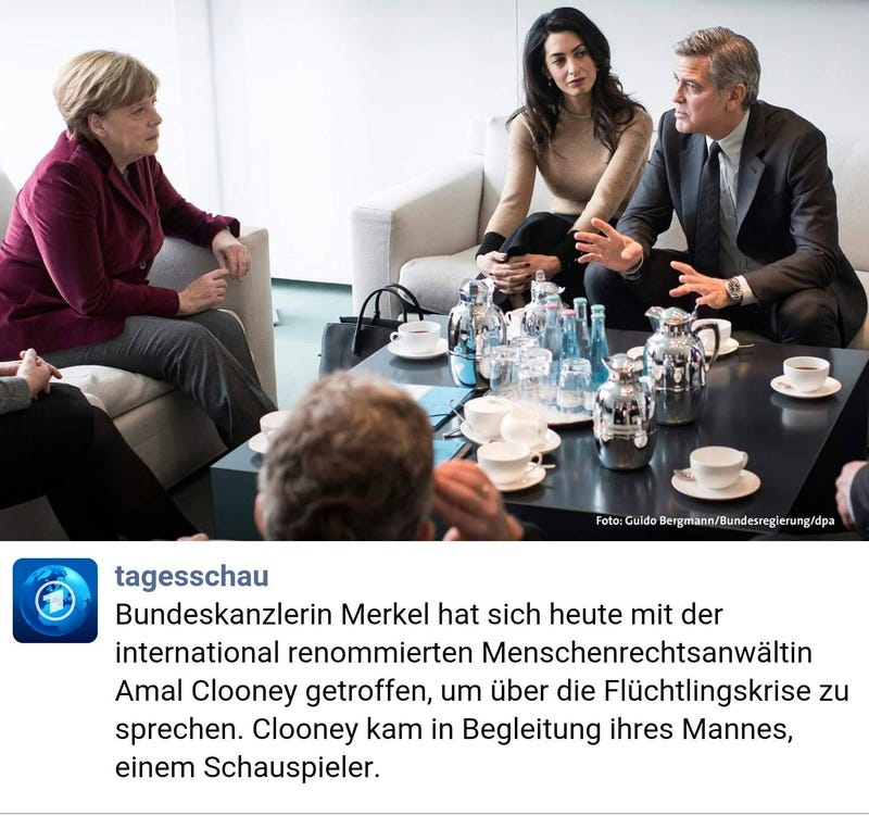 Illustration for article titled So apparently Clooney and her husband met Merkel