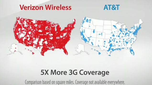 ATT Suing Verizon Because Map Ad Is Confusing To Dumb People - Us cellular coverage map vs verizon