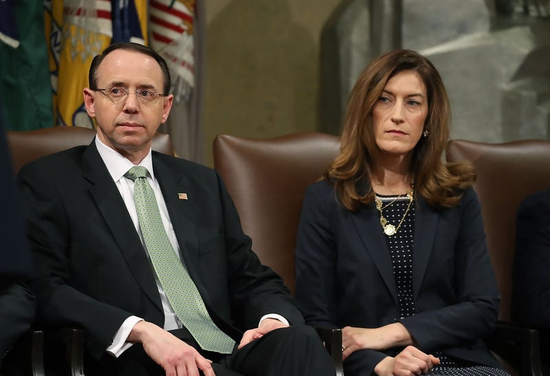 Deputy U.S. Attorney General Rod Rosenstein and Associate Attorney General Rachel Brand  at the Justice Department on Feb. 2, 2018, in Washington, D.C. (Mark Wilson/Getty Images)