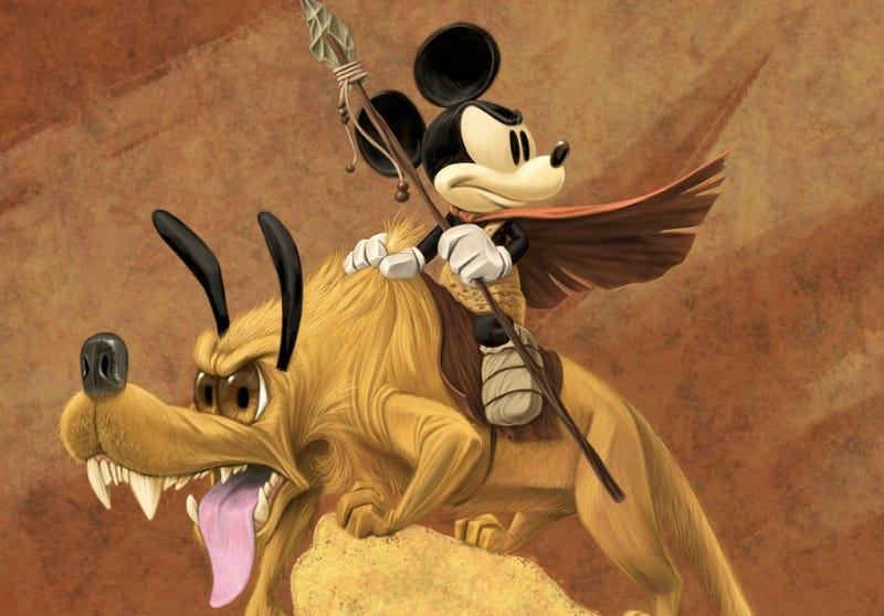 Illustration for article titled Mickey Mouse and Pluto get the Frank Frazetta treatment