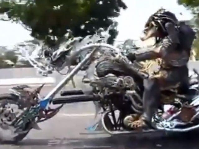 Video: Is That a Predator Biker? - Now We've Seen It All