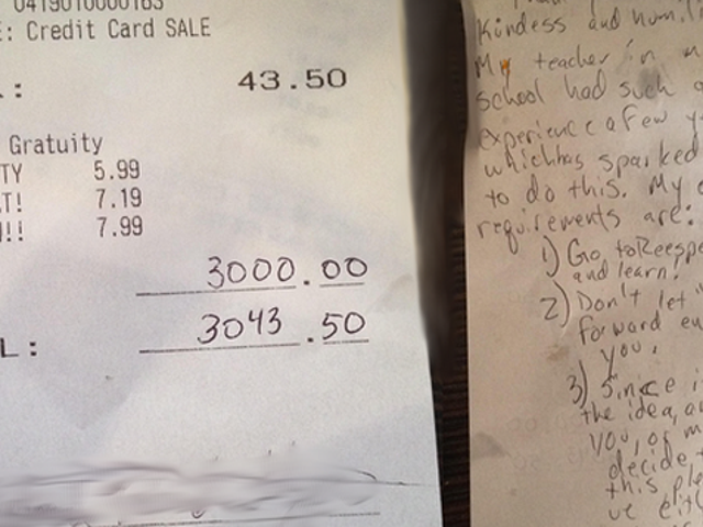 Waitress Gets $3,000 Tip, Joins Real-Life Pay It Forward Chain