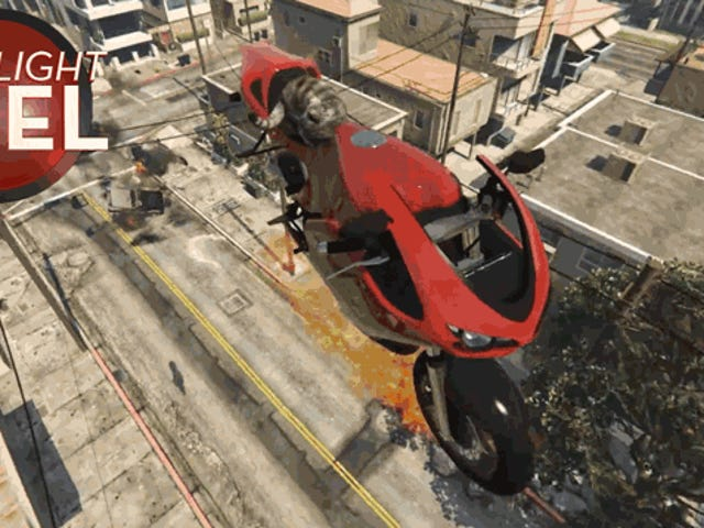 <i>GTA</i> Cat Rides Flaming Motorcycle