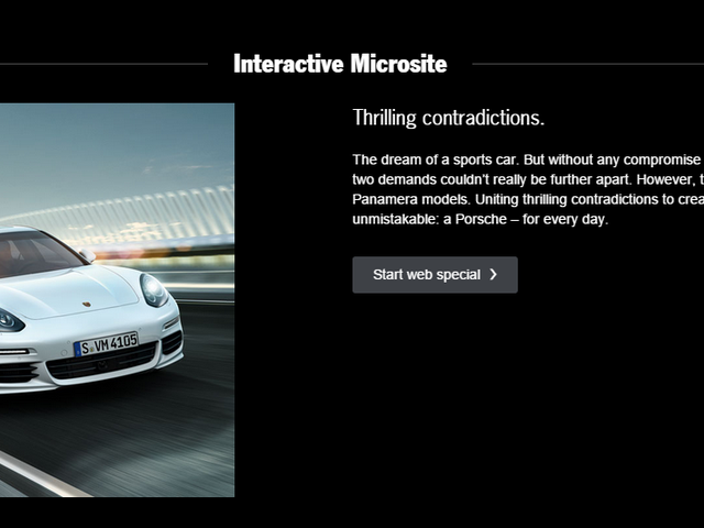 Porsche Wants to Tell You About Its Microsite