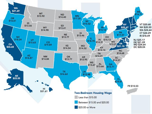 Lương tối thiểu cần thiết để thuê một căn hộ 2 phòng ngủ trong mỗi tiểu bang