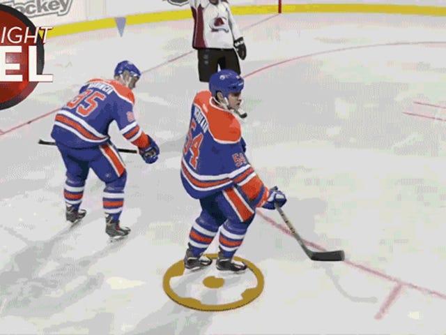 Una celebración de hockey se pone un poco rara