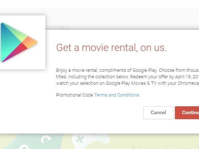 Chromecast Sahipleri İçin Ücretsiz Google Play Film Kiralama (yalnızca ABD)