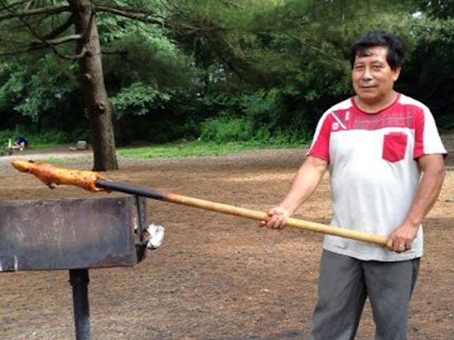 Man Grilling Guinea Babi Dalam Taman Prospek Adalah Seorang Hero