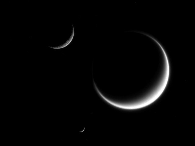 Cassini Spots One, Two, Three (Look Closely) Crescent Moons Of Saturn