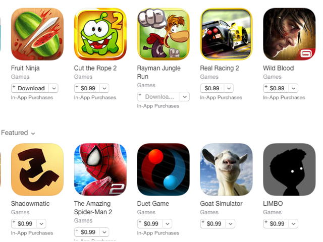 Apple's Cut the App Store Prices of 100 Popular Apps to $0.99