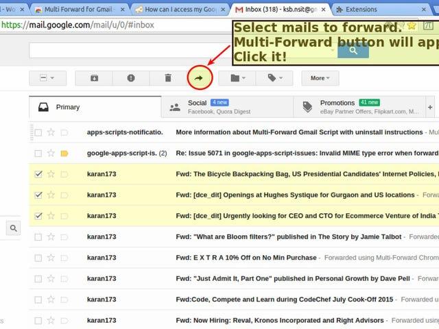 Το Multi Forward for Gmail προωθεί μαζικά τα μηνύματα ηλεκτρονικού ταχυδρομείου