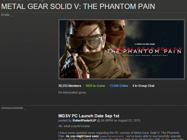 Metal Gear Solid V: The Phantom Pain PC Release Date Moved Forward