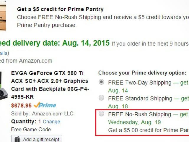 Holen Sie sich 5 USD Guthaben für Amazon Prime Pantry, wenn Sie sich für einen Versand ohne Eile entscheiden
