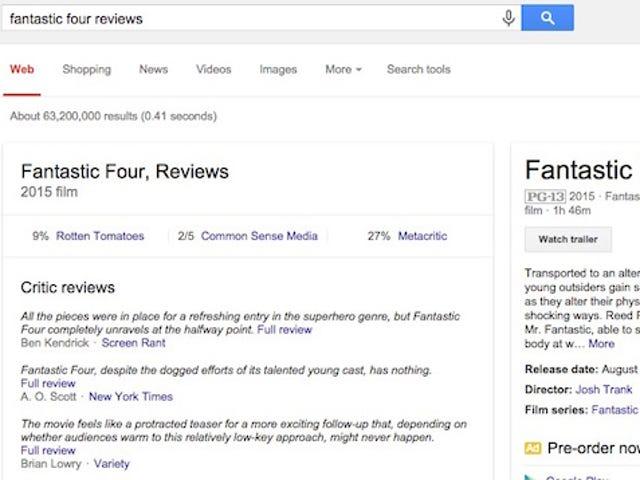 """Додати """"Відгуки"""" до пошукових запитів із фільмів у Google для отримання фрагментів критичних відгуків"""