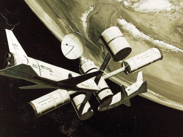 Seni konsep ini dari hari-hari awal Program Shuttle menggambarkan dua kapal angkasa dan apa yang kelihatan seperti